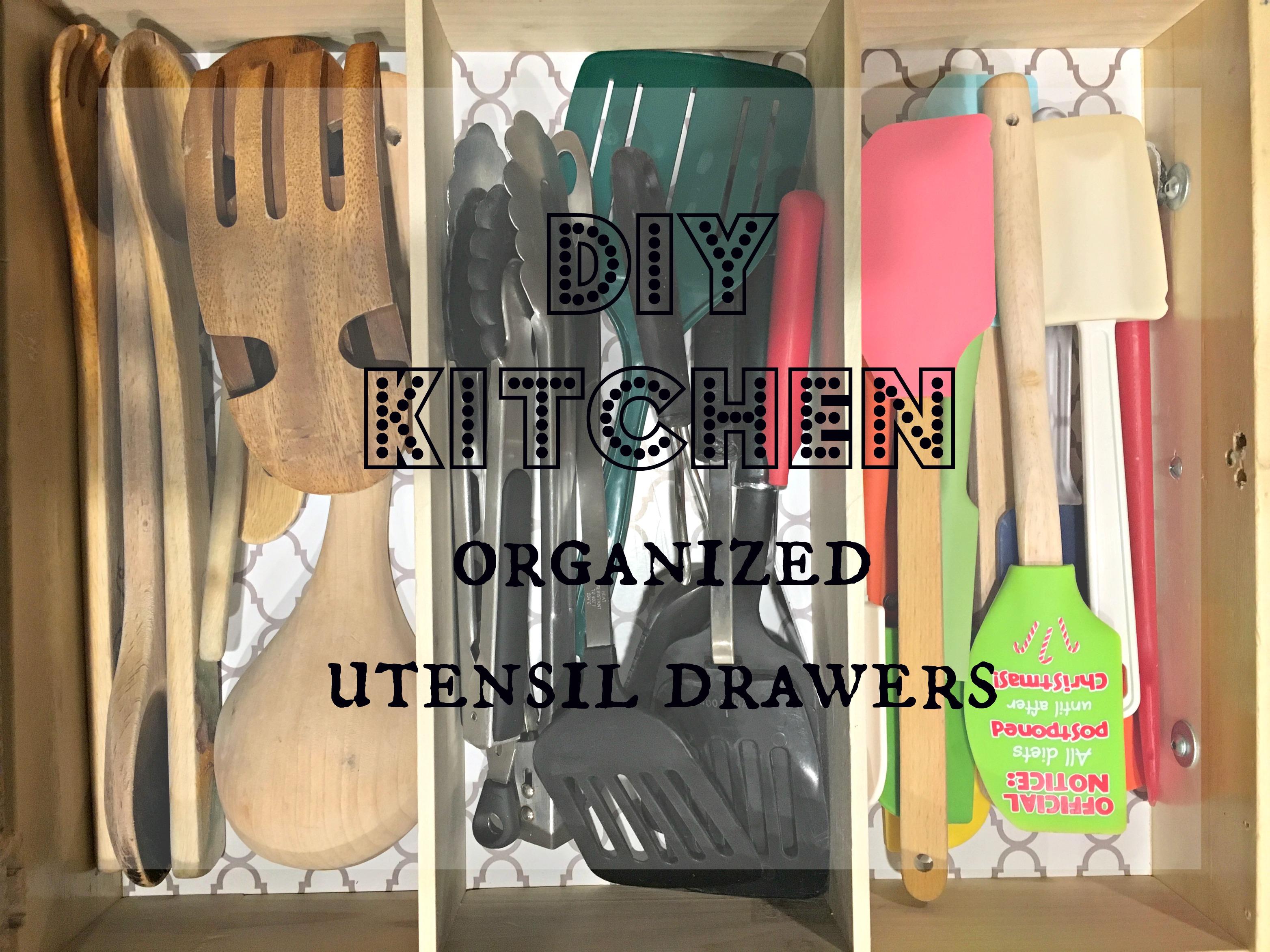 DIY Kitchen Organized Utensil Drawers