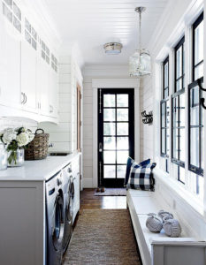 black white laundry room