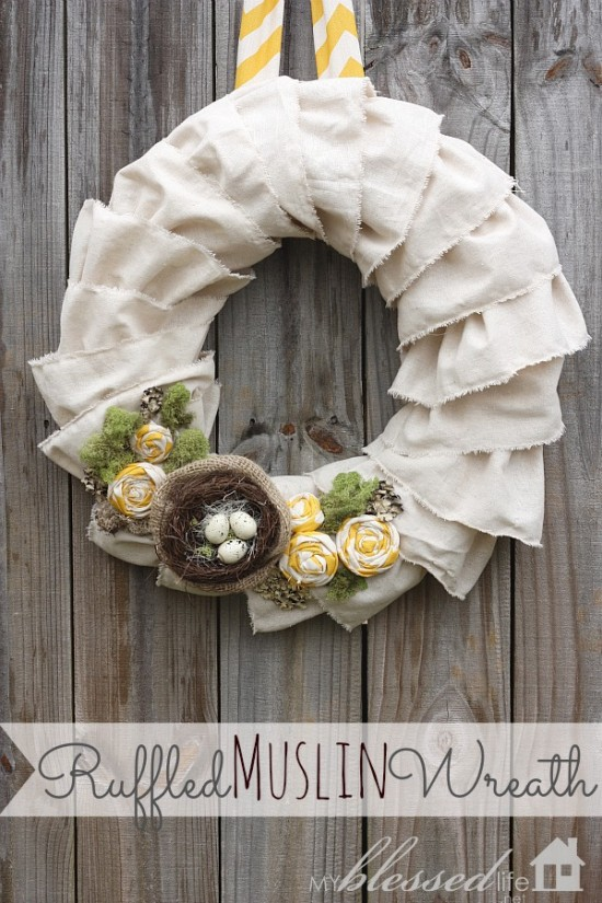 muslin spring wreath with birds nest