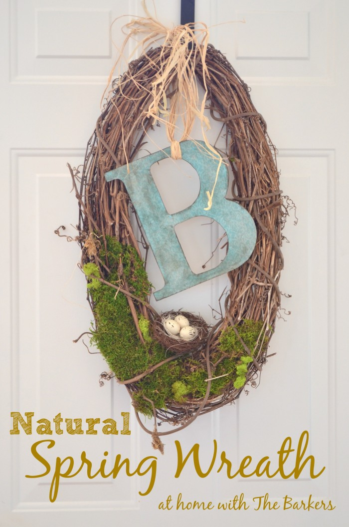natural spring monogram wreath