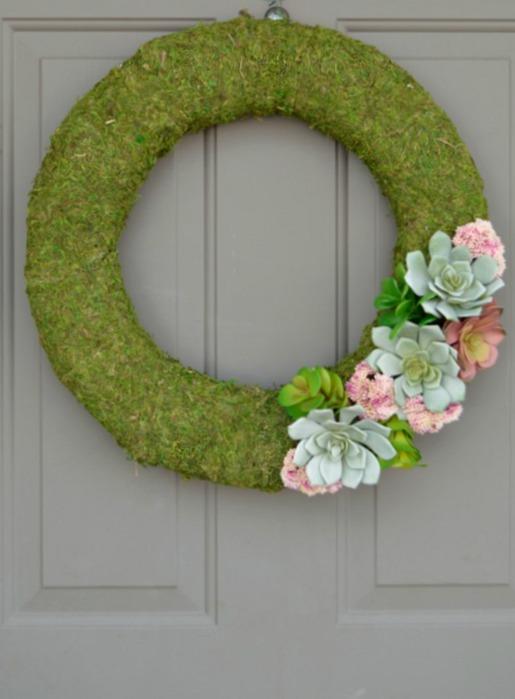 Succulent moss wreath