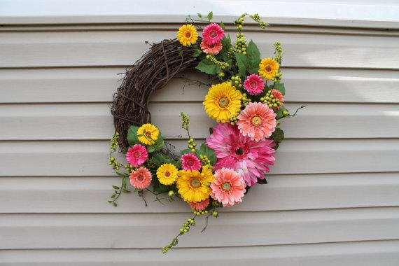 gerber daisy spring wreath