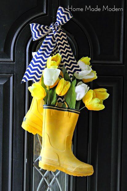 spring rain boot wreath