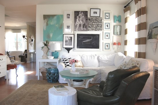 neutral family room with pops of aqua