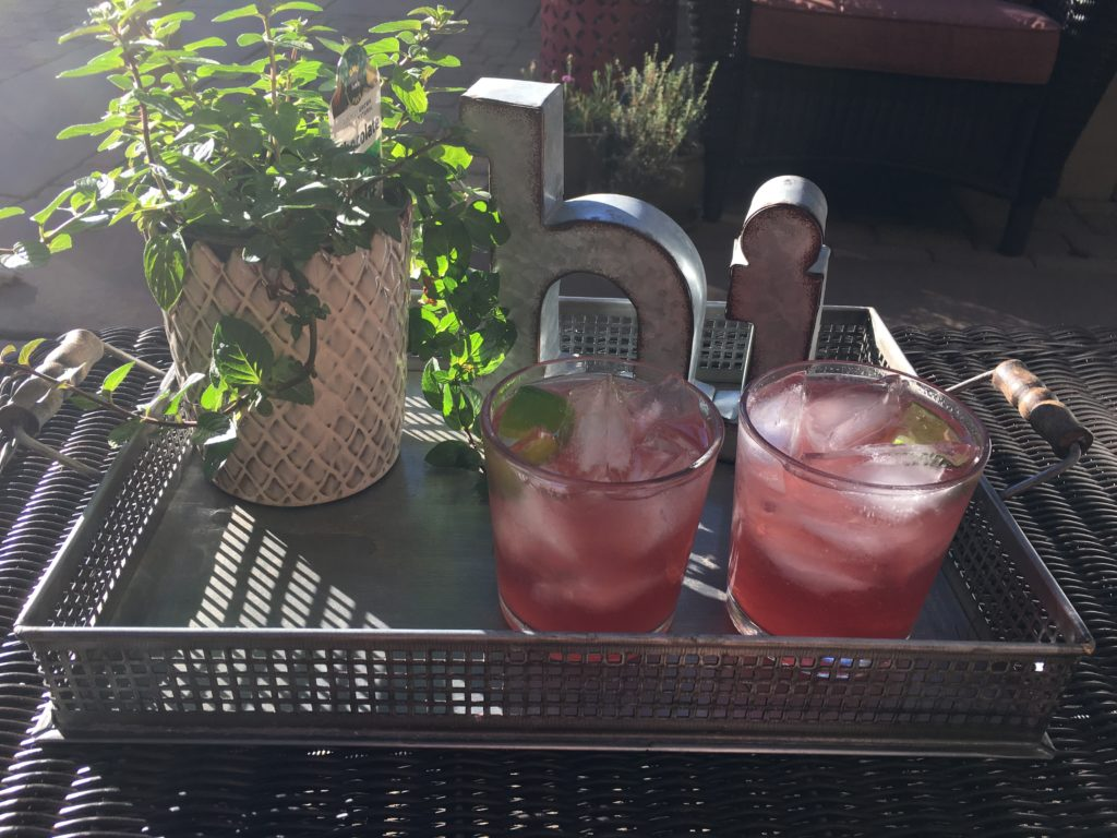 Alta Palla sparkling black cherry and vodka cocktail with fresh lime juice and crushed ice