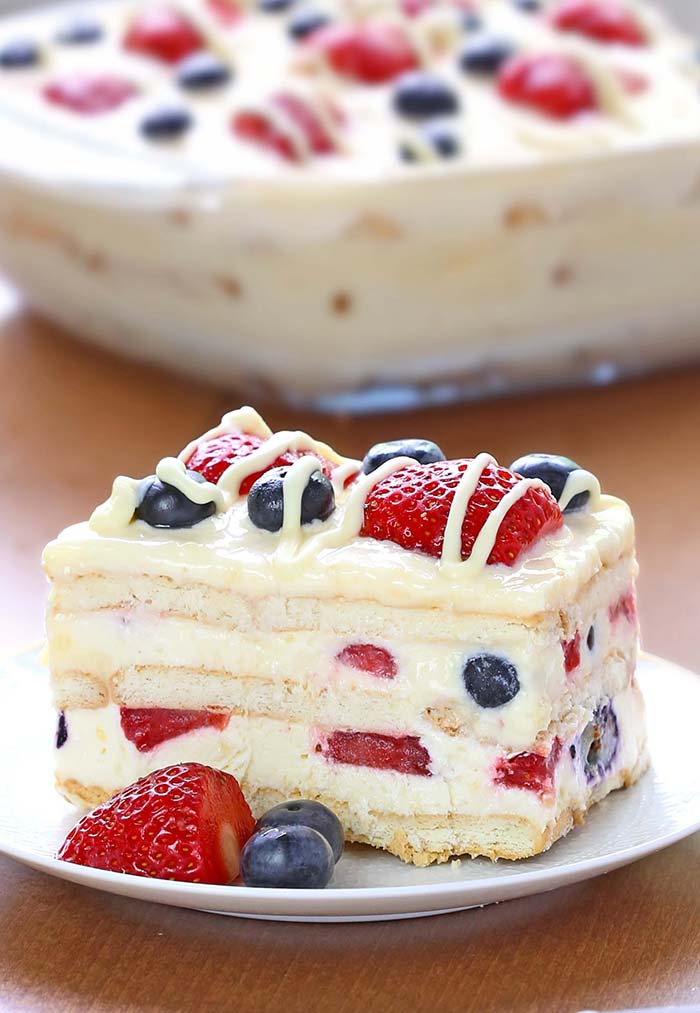 summer berry ice box cake