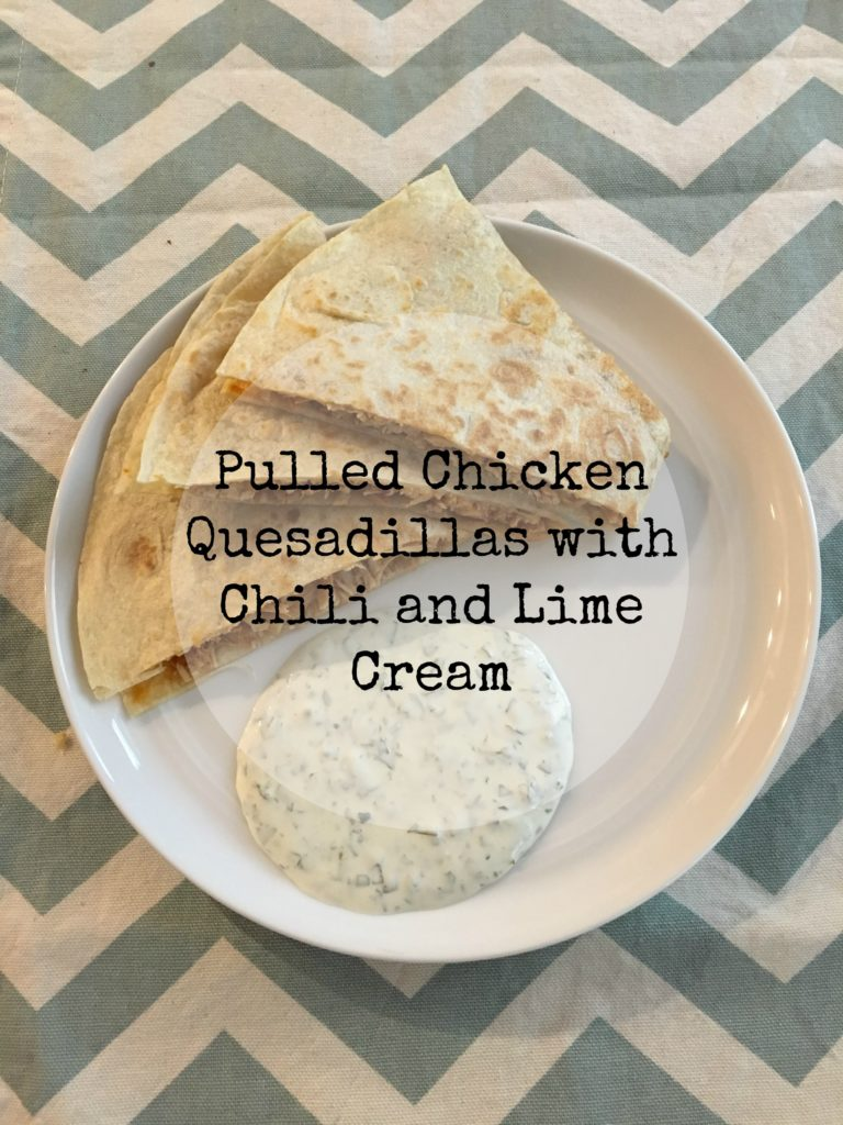 pulled-chicken-quesadillas-with-chili-and-lime-cream