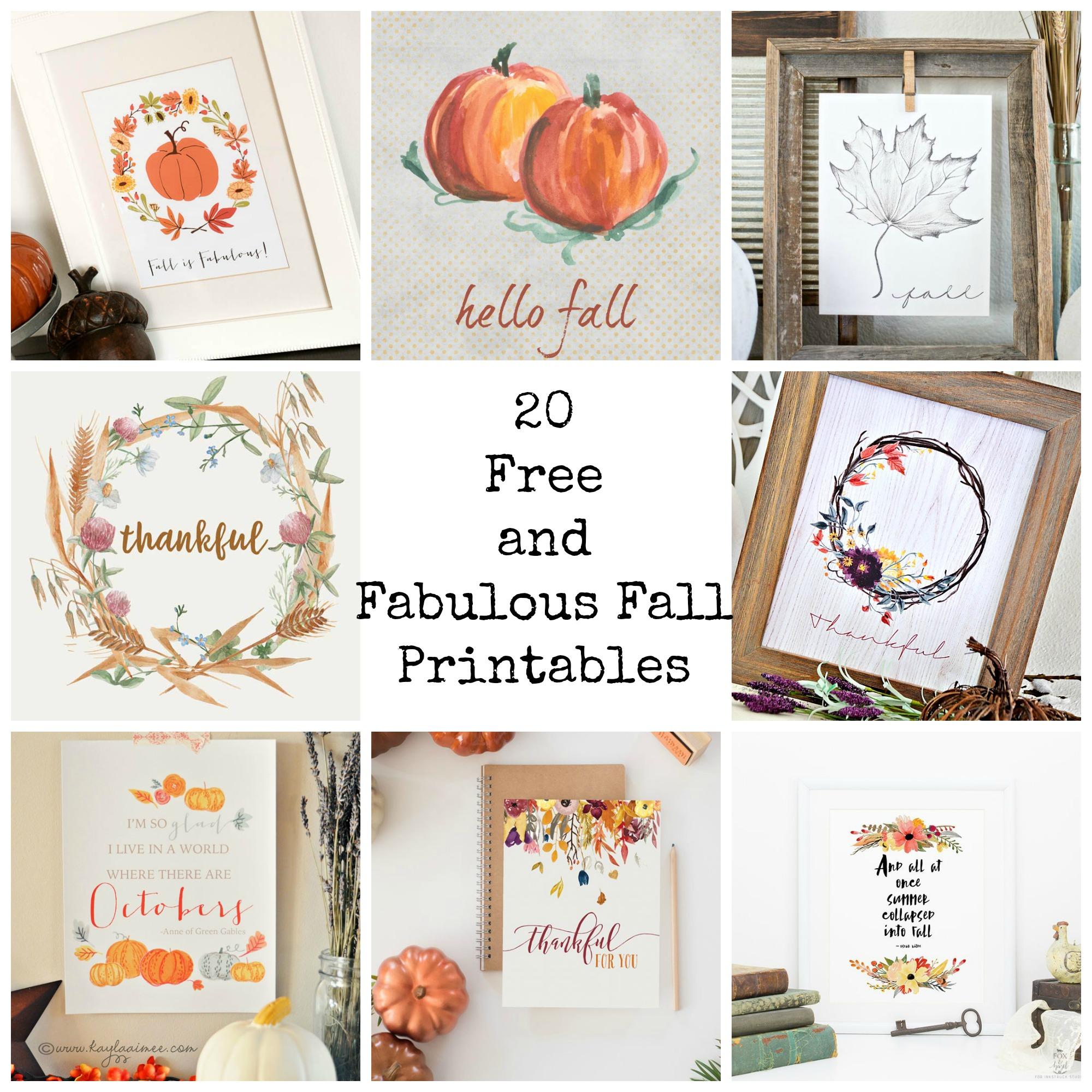 20 Free And Fabulous Fall Printables